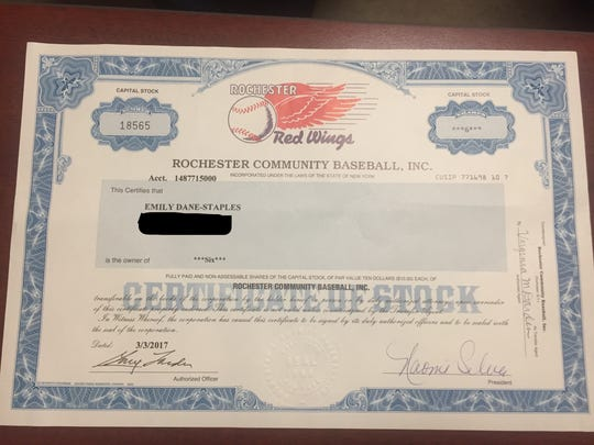 A Rochester Red Wings certificate of stock. The team issues such paperwork when its stock exchanges owners.