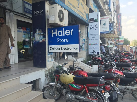 An electronics storefront in Islamabad.