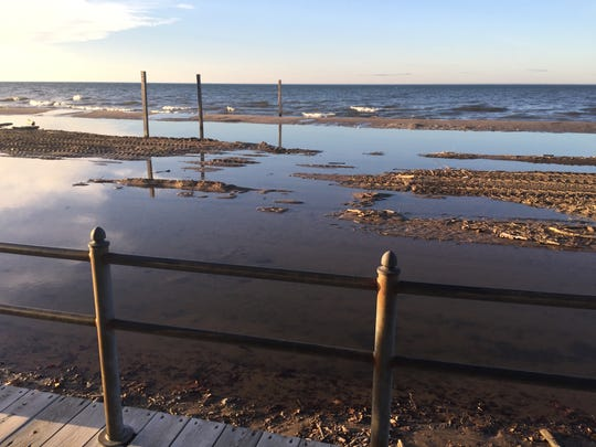 High waves and rising lake levels left Ontario Beach under water in this May 15 photo.