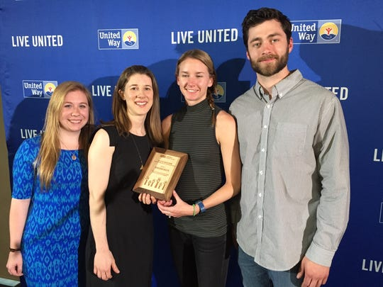 From left, Jenna Bushor, Kate McInnis, Kelly Macnee and Jack Leclerc of Marathon Health accept the Live United Award at the United Way of Northwest Vermont 2017 Annual Celebration and Community Awards.