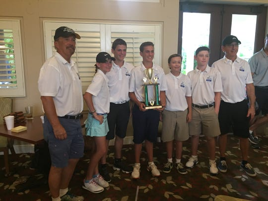 The Pine Ridge Middle School golf team won the Gold Division of The First Tee of Naples/Collier Middle School Championship on Saturday, May 20, 2017, at Quail Village Golf Club. Pictured: coach Dave McElrath, Eliza Kodak, Tom Kodak, Sam Kodak, Jack McElrath, J.T. Roseman and coach Jim Annoye.