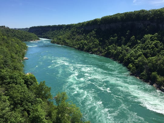 Niagara River whirlpool seen from the Aero Car cable ride.