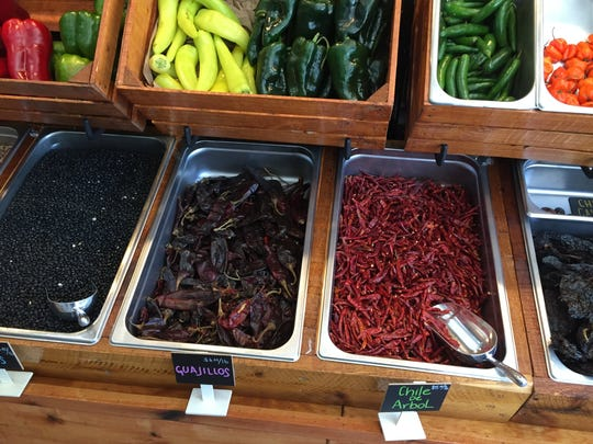 Fresh and dried chilies at Mazunte's pantry, now open to the public.