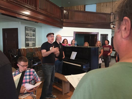 "New York theatrical director/playwright Edward Morgan offers instruction during rehearsal for ""No Greater Love,"" a musical commemorating 100 years since the Granite Mountain-Speculator Mine disaster that killed 168 men."