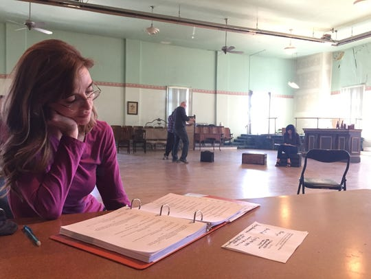 Angela Billadeau studies her lines for her role as