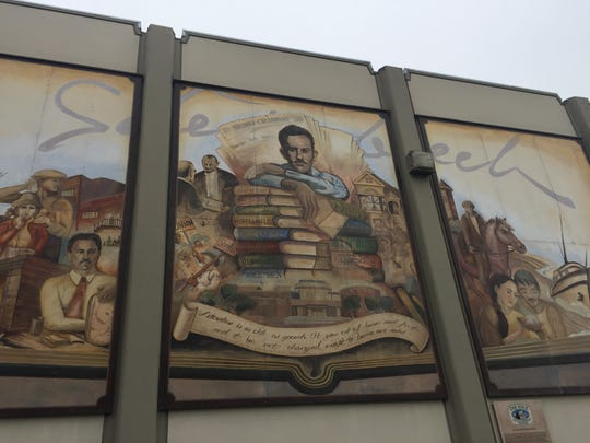 A mural that depicts novelist John Steinbeck on the building at 123 W. Alisal St. in downtown Salinas