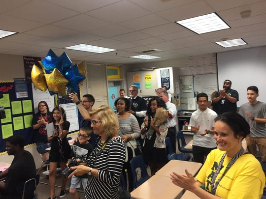 Family and friends of Michelle Beyronneau, a math teacher at Desert Hot Springs High School, surprise her in her classroom on May 26, 2017. Beyronneau is one of Riverside County's 2018 Teachers of the Year.