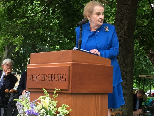 Former Secretary of State Madeleine Albright talks to Mercersburg Academy graduates May 27, 2017, in Mercersburg PA.