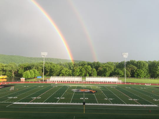 Aftermath of a storm that cut short Day 1 of of Section 4 State Track & Field Qualifier at U-E.