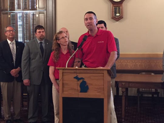 Steve and Bridget Tennes discuss their history with the East Lansing farmers market on Wednesday, May 31, 2017, during a  press conference at the state Capitol.