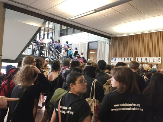 Hundreds of students at the Evergreen State College in Olympia  protest against the college administration on May 24.