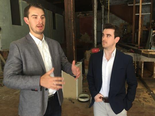 Stephen Toyra, left, and Matt Garofalo talk about plans