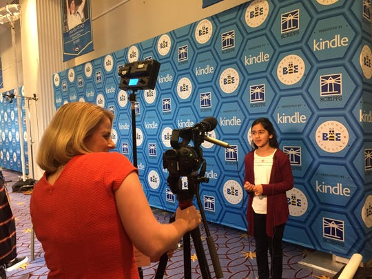 Naysa gets plenty of media attention at the Scripps National Spelling Bee.
