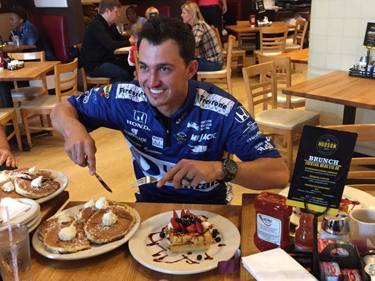 Graham Rahal, who won both races in the Chevrolet Detroit Grand Prix presented by Lear last weekend, eats breakfast during a media session at Hudson Café in downtown Detroit on Monday, June 5, 2017.