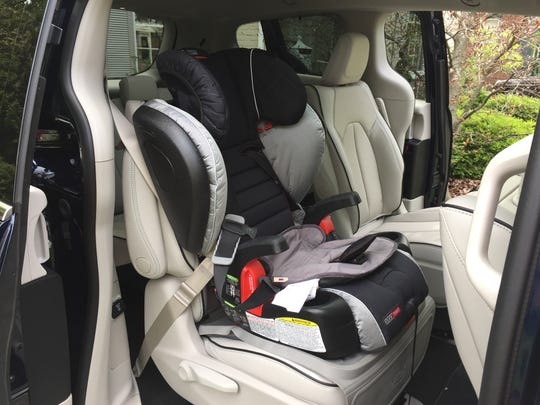 Like other minivans, the 2017 Chrysler Pacifica Hybrid can easily handle a kid's car seat.