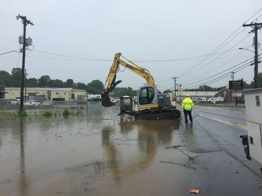 TDOT Is working to clear a clogged drain that caused
