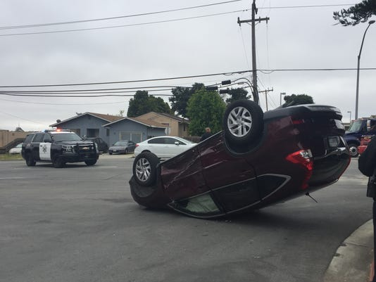 Car flipped over