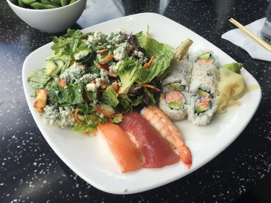 The lunch Sushi Sampler is a great way to try a roll,