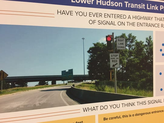 The New York State Department of Transportation talks about the Lower Hudson Transit Link, the region-wide program that includes the new bus system, at an open house event in the Palisades Center in West Nyack on Tuesday, June 7, 2017.