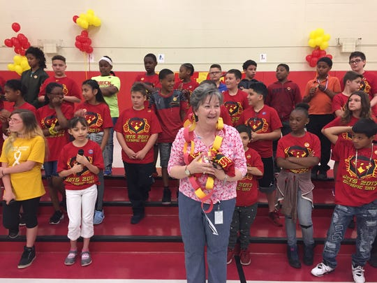 Katy Bledsoe, a teacher at R.D. Wood School, got a long introduction Thursday morning to students and staff at Rieck Avenue Elementary School. Bledsoe starts work there in September.
