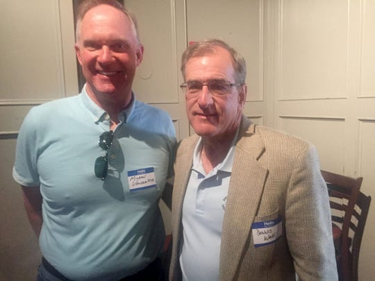 Michael VanderBeek (left) and Dennis Wade wait for the start of Thursday, June 8, 2017 100 Men Club meeting in Royal Oak. Wade's presentation was good enough to earn $10,000 for Shades ofÊÊPink.