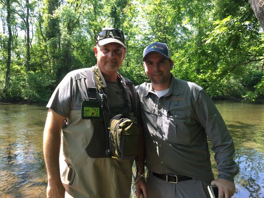Mike Price, left, and Andrew Laffey, both of the Raritan Valley program of Project Healing Waters Fly Fishing, on the Musconetcong River Saturday.