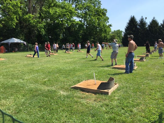 Dozens of people showed up for Pitching 4 Patriots at Veterans Memorial Park on Saturday. Christopher Dornblaser photo.