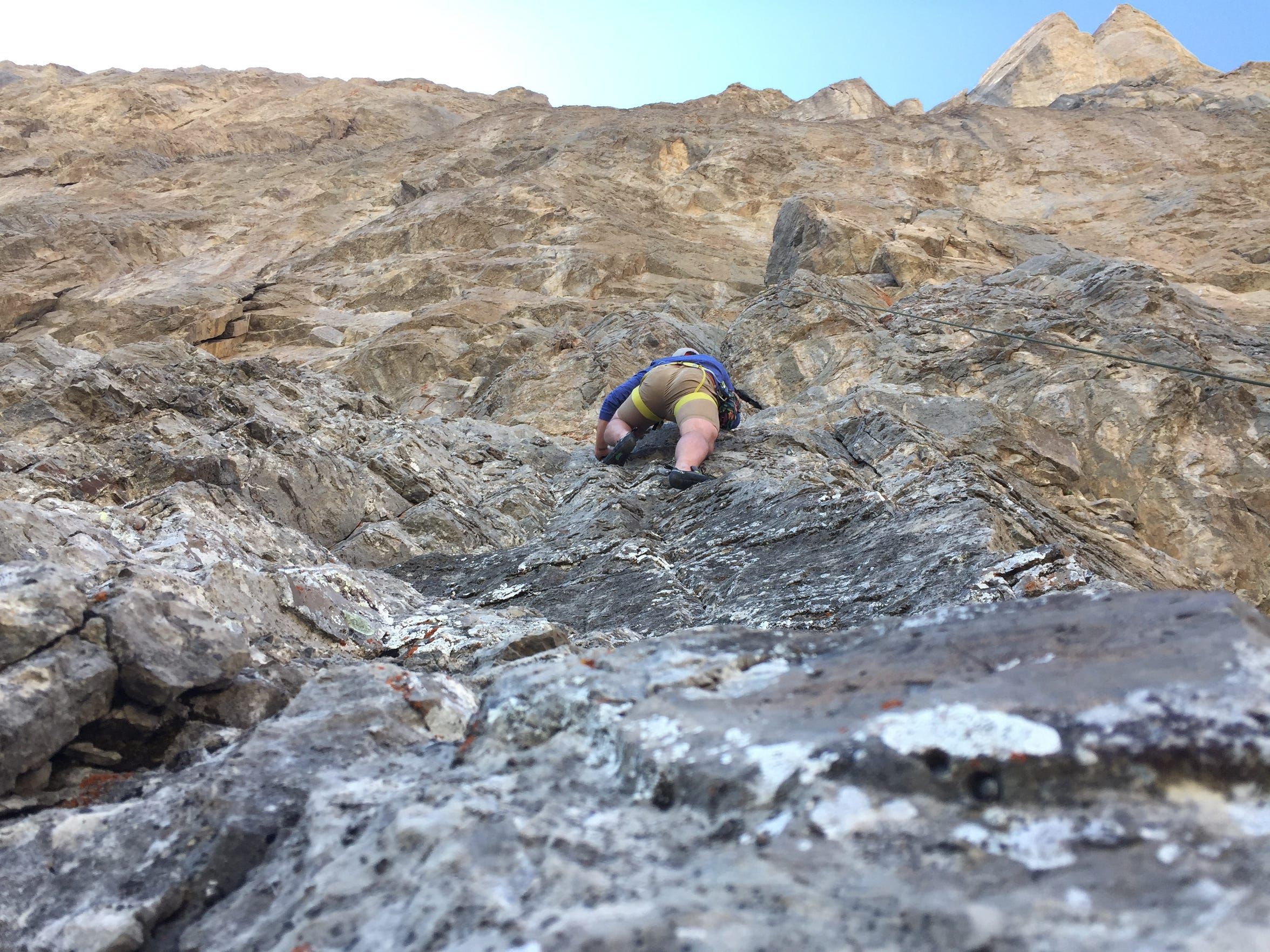 Jake Bash makes the first climb of the day in the Blackleaf