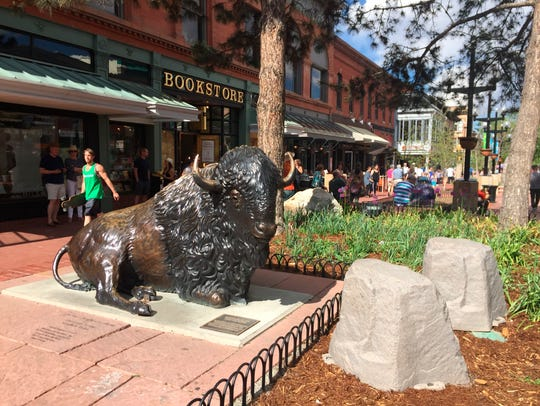This May 13, 2017 photo shows a bison sculpture on