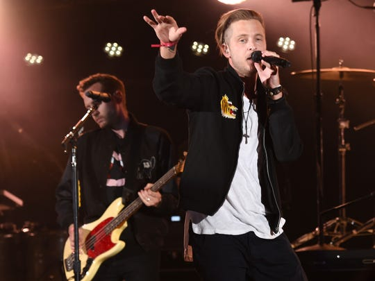 Ryan Tedder, right, and Brent Kutzle of OneRepublic.