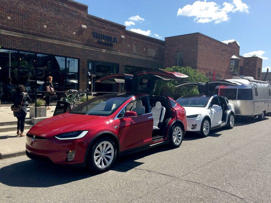 A mobile gallery from Tesla is parked outside the Shinola store in Midtown Detroit on Wednesday, June 7, 2017.