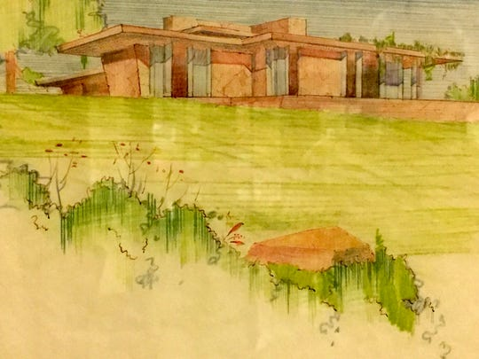 A sketch of a proposed house, hand drawn by Frank Lloyd Wright and his assistants, is on display at Domino's Farms in Ann Arbor with other Wright material on June 13, 2017.