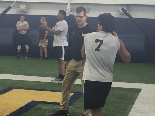 Michigan coach Jim Harbaugh at the A4 QB camp in Ann Arbor on June 17, 2017.