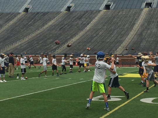 Campers throwins at the A4 QB camp in Ann Arbor on