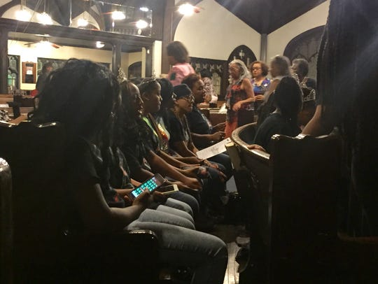 Participants in the Miss Juneteenth Pageant wait to