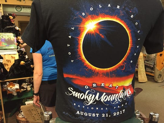 Shirts are being sold at the Sugarlands Visitor Center in the Great Smoky Mountains National Park in preparation for the solar eclipse on Aug. 21.
