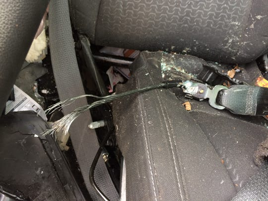 The base of the seatbelt worn by Dee Chadwick was severed