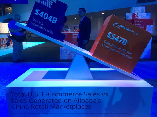A display at Alibaba's Gateway '17 conference in Detroit,