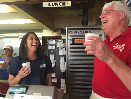 Former employee Maryam Ahmed toasts Bill Meade, retiring