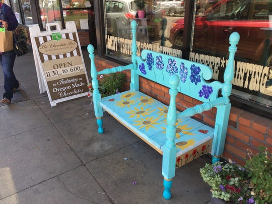Martha Kosel of Mt. Angel brightened up this bench