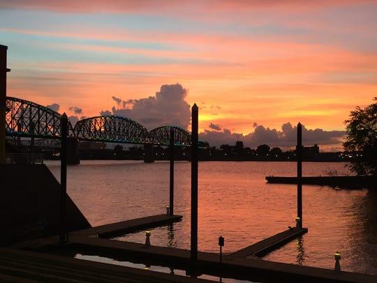 The Big four Bridge at sunset.