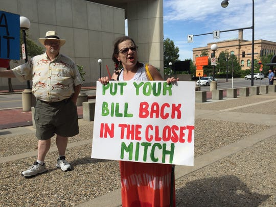 Chelle Burgan of Grimes protests the U.S. Senate's