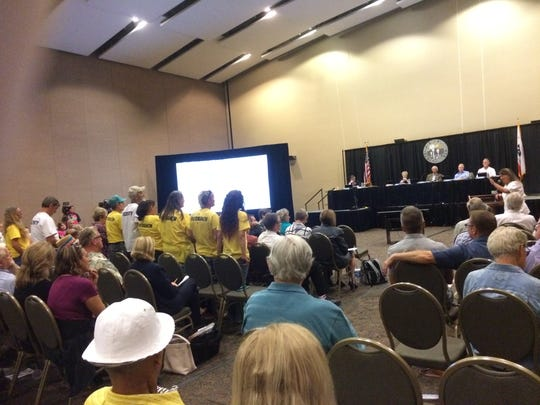 Well of the Desert president Arlene Rosenthal asked her outreach and security volunteers, people who used to be homeless, to stand up and identify themselves at Wednesday's Palm Springs City Council meeting.