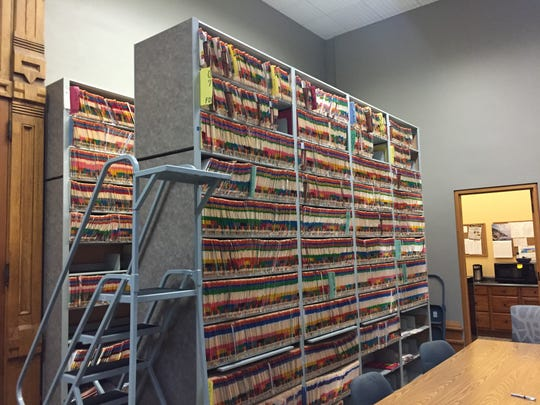 E-filing is making it easier for clerk and courts employees, as well as for public access to records. These two rows of files will soon be digitized, freeing up this space in Tippecanoe Superior 6.