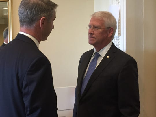 Sen. Roger Wicker, R-Miss., (right), chats with Rep. Rob Wittman, R-Va., after Thursday's press conference.