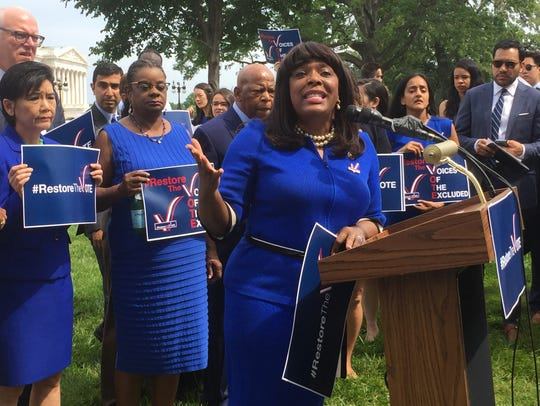 Alabama Rep. Terri Sewell helped lead a Democratic panel  set up to counter President Trump's voter fraud commission. (Photo by Deborah Barfield Berry, USA TODAY)