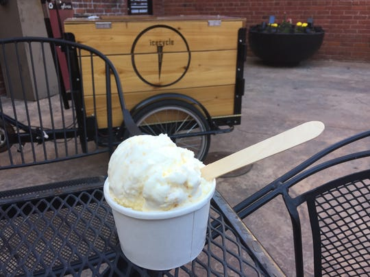 Our columnist is about to tuck into a scoop of vanilla and one of honey butter cornbread from Icecycle Creamery in West Street Market in downtown Reno.
