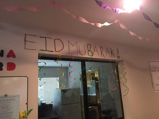 Decorations were put up inside the mosque to celebrate