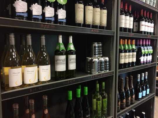 The new wine section at Grubb's Grocery on June 24,