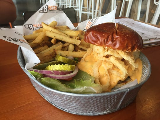 The number two burger with beer infused beef, beer-battered